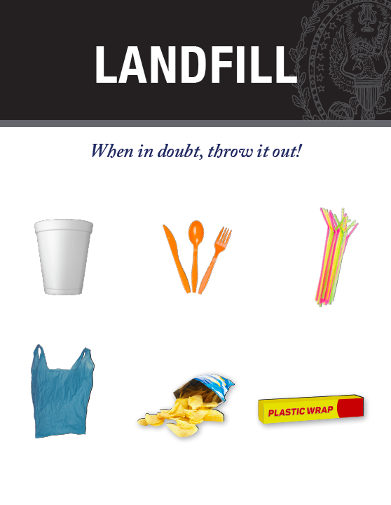 Examples of non-recyclables like styrofoam cups, plastic grocery bags, plastic wrap, plastic straws, chip bags, and plastic utensils.