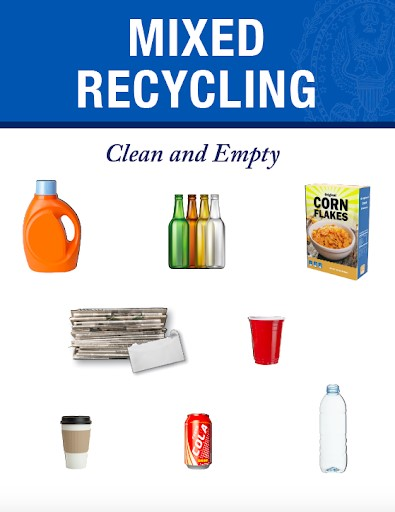 Mixed recycling includes, mixed paper, metals, plastic, and glass. See text for examples.